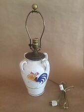 Italian Ceramic Pot Or Urn Converted Into Table Lamp, Hand Painted Rooster