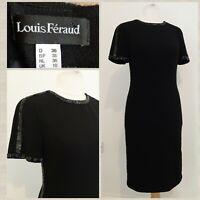 Louis Feraud Black Black Pencil Wiggle Dress With Sequin Trim UK10 Virgin Wool