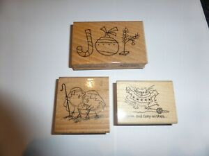 3 WOODEN RUBBER STAMPS CHRISTMAS BY STAMPENDOUS  IDEAL FOR CARD MAKING