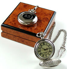 PERSONALISED MONOGRAMMED Silver Plated Pocket Watch CUSTOM Engraved Initials