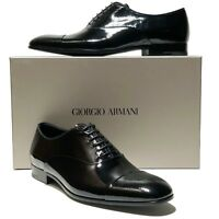NEW ARMANI Captoe Pebbled Leather Formal Dress Oxford 9 42 Men's Shoes Tuxedo