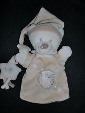 Doudou marionnette ours blanc beige poussin oiseau étoile NICOTOY