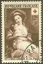 "FRANCE TIMBRE STAMP N°966 ""CROIX ROUGE VIGEE LE BRUN"" OBLITERE TB"