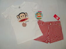 NWT $36 PAUL FRANK  2pc set short & T shirt GIRL size 6  white, red