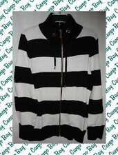 Chaps Woman 2x Sweater Zip Front Cardigan Plus Size Black White & Gold Gorgeous!
