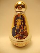 Christian Icon Ceramic Black Madonna & POPE Holy Water Bottle One of a Kind