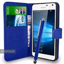 Azul Funda Tipo Cartera Cuero Artificial libro para Nokia / Microsoft Lumia 650