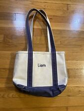 Vintage LL BEAN boat and tote bag canvas Navy Small Zip Used