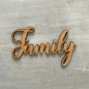 Family Script Sign Wooden Sign 20cm - 60cm Sizes 4mm Thick Wall Hanging Decor