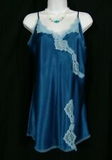 Victoria's Secret Slip S Angels blue silky satin lace nightgown small victorias