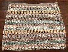 Express Mini Skirt - Sequin Aztec/Geometric Pattern-Size Medium Short