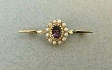 VINTAGE 9ct YELLOW GOLD EDWARDIAN STYLE BROOCH AMETHYST & REAL PEARLS bar pin