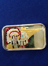 1986 Silvertowne Indian Chief Enameled ST-12V4 Silver Art Bar P1357
