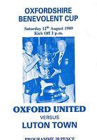Football Programme OXFORD UNITED v LUTON TOWN Aug 1989