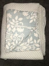 """Laura Ashley Twin Quilt & Sham, White & Teal Colored, Rose Pattern, 82""""x64"""""""