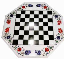 "18"" x 18"" white marble Chess Table top semi precious stones inlay home decor"