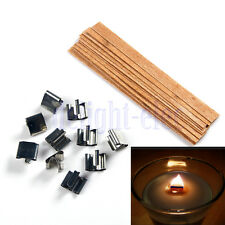 10 X Wood Wooden Candles Core Wick Candle With Iron Stands 10mmX126mm DG