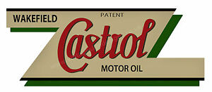 """WAKEFIELD CASTROL OIL DIGITALLY CUT OUT VINYL STICKER. 6"""" X 2.25"""" OVERALL SIZE."""