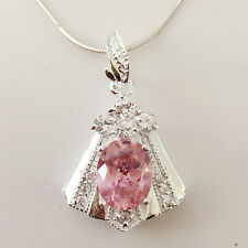 New 925 Sterling Silver Pink Trapezium Floral Charm Pendant Necklace Gift PD1240