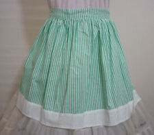 VINTAGE HOSTESS HALF APRON ~GREEN & WHITE STRIPE ~ HENS PARTY~GIFT~HOME~COOKING