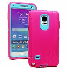 Rugged Hybrid Case Cover For Galaxy Note 4 ( Belt Clip Fits OtterBox Defender )