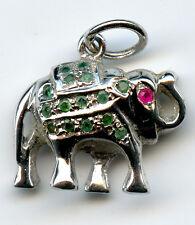 Sterling Silver Elephant Pendant Natural Gemstone Ruby Emerald 5 g 18X20mm 8415J