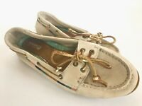 Sperry Top Sider all leather boat shoes women's 8 bone gold STS 91452 Excellent