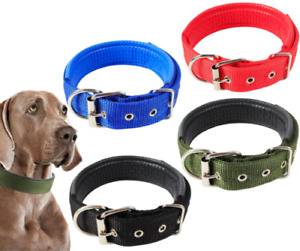 Dog Pet Collar Soft Padded Nylon Strap Adjustable Alloy Buckle Solid Colour New