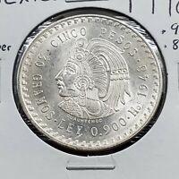 1948 Mexico Silver Cinco 5 Pesos Cuauhtemoc Gem BU Uncirculated