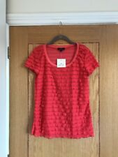 RIVER ISLAND Coral Red Short Sleeve Ruffle Stretch Fitted Top Size 14 - NEW