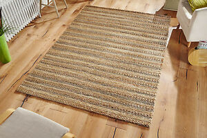 Handmade Natural Jute with Light Green Authentic Super Thick Chunky Area Rugs
