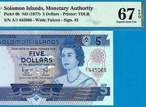 SOLOMON ISLANDS-5 $-1977-A/1-S/N 645068-P.6b *PMG 67 EPQ SUPERB GEM UNC*TOP POP*