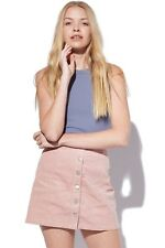 """NWT PARE BASIC """"Shelby""""  Pastel Pink Corduroy A-Line Mini Skirt Size 8"""