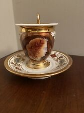 Paris Schoelcher Porcelain Cup&Saucer Antique Hand Painted Cameo Portrait Ceres