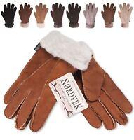 Nordvek Ladies Premium Genuine Sheepskin Gloves Fur Cuff Womens Real 301-100