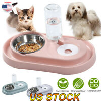 Automatic Pet Food Drink Water Dispenser Dog Cat Feeder Water Double Bowl Dish