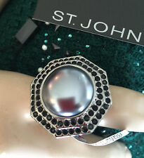 NEW ST JOHN KNIT SIZE 8  WOMENS DESIGNER JEWELRY SILVER RING BLACK PEARL LARGE