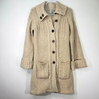 Vintage Women's Sweater Cardigan Medium M Wool Cable Knit 70's Brown Buttons