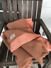 """Vintage Salmon Rose Mariposa Wool Blanket Shuler & Benninghofen 78"""" x 89�"""