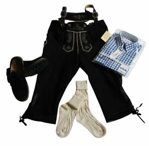 Trachten-Set 4-teilig WILDBOCK Kniebundhose schwarz 56 Hemd blau, Schuhe&Socken
