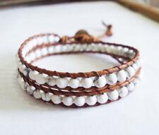 Howlite Bracelets,Stone bracelets,Leather bracelets,Women bracelets,2 wrap