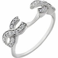 1/4 Ct Diamonds Round Cut 14K White Gold Guard Wrap Enhancer Wedding Ring -IGI-