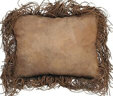 """Tobacco Fringe Pillow - 18"""" x18"""" - Faux Leather- Carstens - Free Shipping"""
