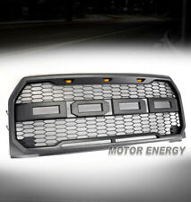 HONEYCOMB MESH GRAY GRILLE GRILL W/AMBER LED LAMP FOR 15 16 17 F-150 F150 PICKUP
