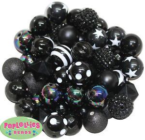 20mm Bubblegum Beads 52 pc. Black Lot Beads Chunky Jewelry Necklace