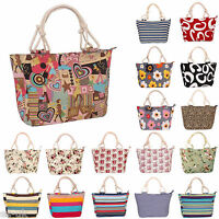 Womens / Ladies Patterned Canvas Beach Tote Bag / Shopping Bag / Handbag