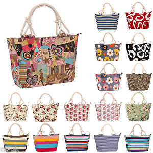 Womens / Ladies Patterned Canvas Beach Tote Bag / Shopping Bag / Handbag