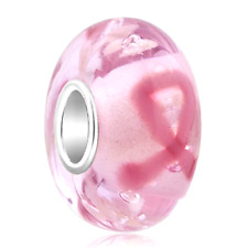 Fight Breast Cancer Awareness Murano Glass Bead Pandora Bracelet Charm Pink