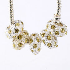 5pcs Silver Lemon Yellow CZ Nest Big Hole Beads For European Charm Bracelet DIY