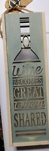 Demdaco lighted lantern wood cutout Wine becomes great when shared Caddy NWT